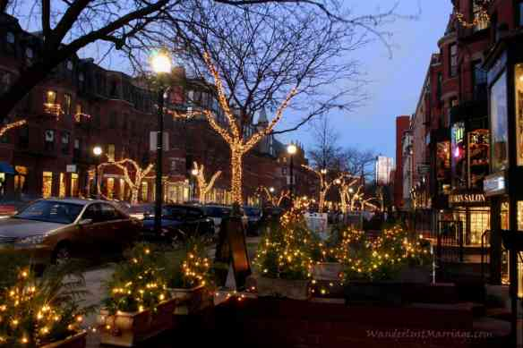 Christmas Lights of Boston on Newbury St
