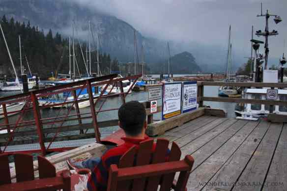 Alex at the boat dock in Squamish