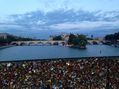 This is another love bridge. You can also see where La Seine splits into two around the island.