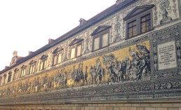 Fürstenzug/Procession of Princes: This mural depicts the rulers of Saxony from 1127 to 1904 (Dresden is the capital of Saxony). It is also the largest piece of porcelain artwork in the world.