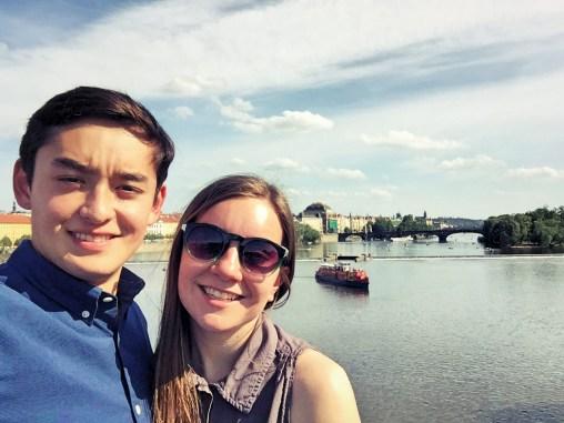 on the Charles bridge over the Vitava River