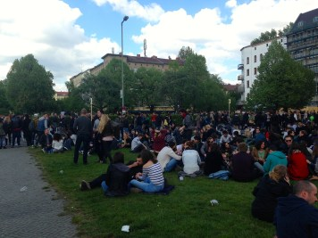 During the May Day (Labor Day) celebration, everyone turns out for a street party in Kreuzberg. Oranienplatz was most crowded spot with music tents and people lounging on the grass listening to Bob Marley and drinking a beer.