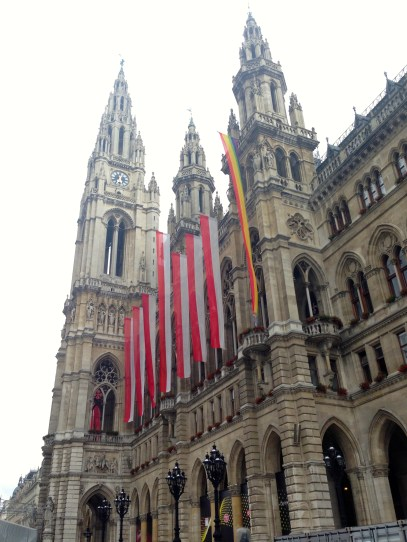 After Prague, we took the train to Vienna. Here is the Rathaus (city hall), where the Eurovision singing competition was going on while we were there.