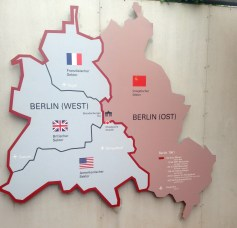 This map shows the four occupied zone of Berlin until reunification.