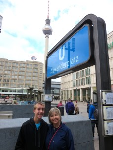 Mom and Spencer at Alexanderplatz