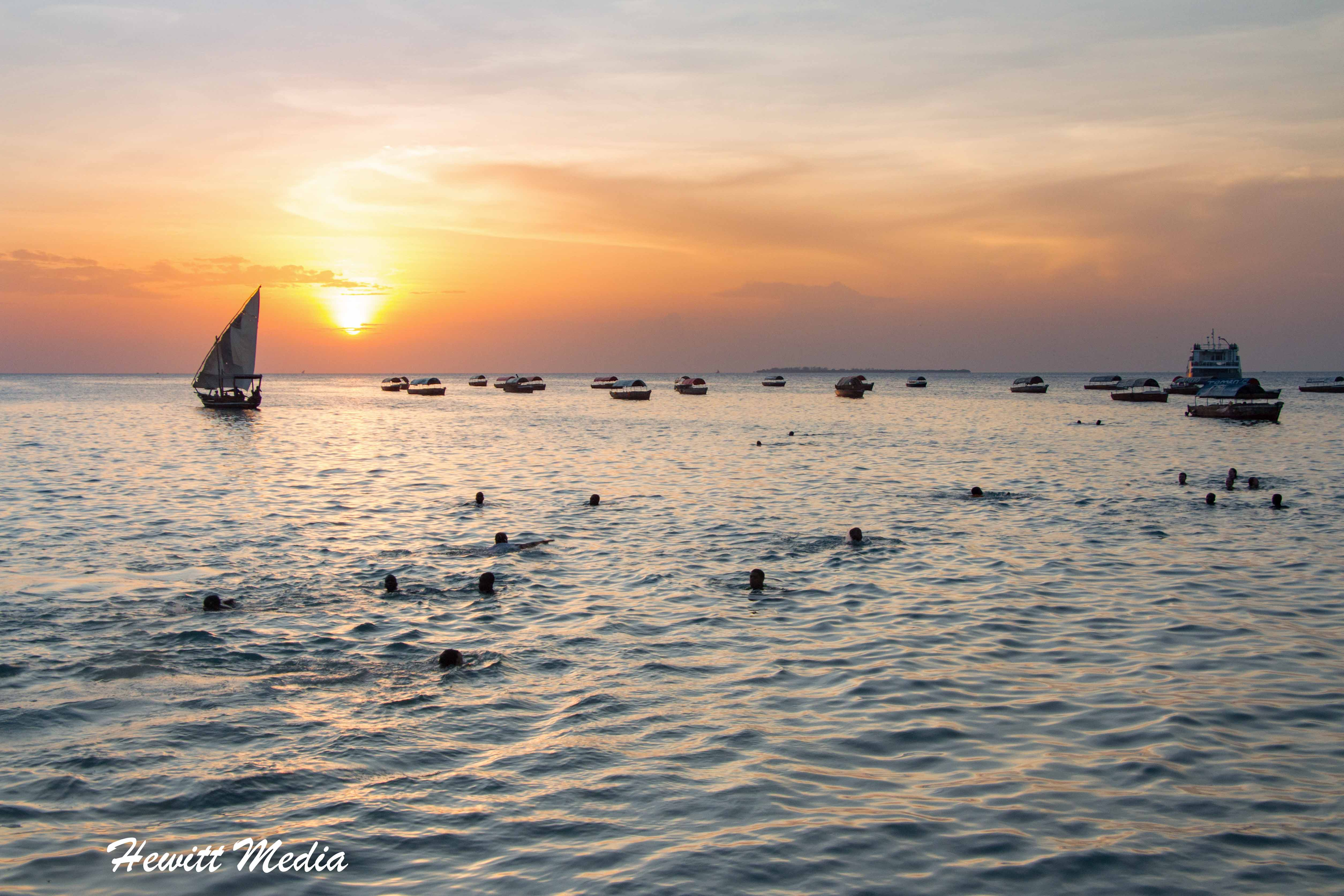 Sunset over the ocean in Stone Town