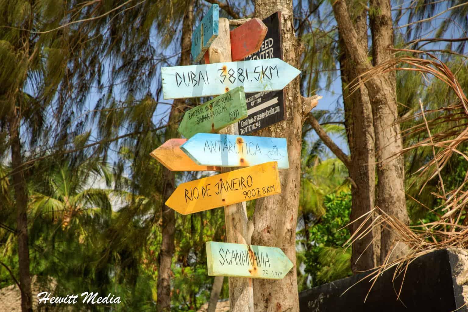 Signs near a resort in Paje Beach, Zanzibar