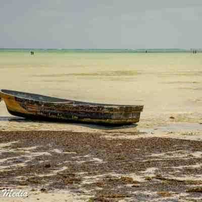A beached boat near Paje Beach in Zanzibar