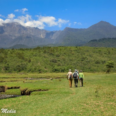 On walking safari in Arusha National Park