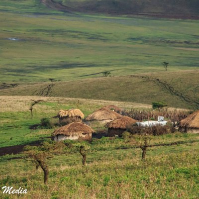 A Masaai settlement near the Ngorongoro Crater