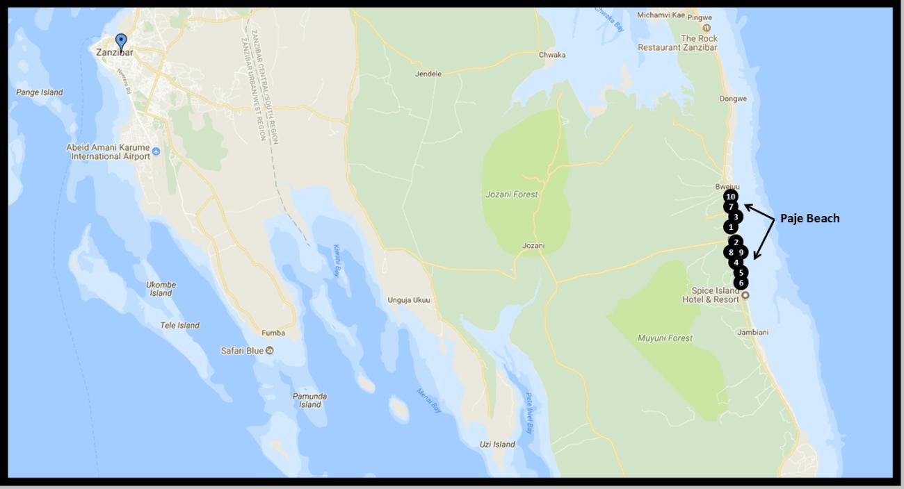 Zanzibar Hotel Map