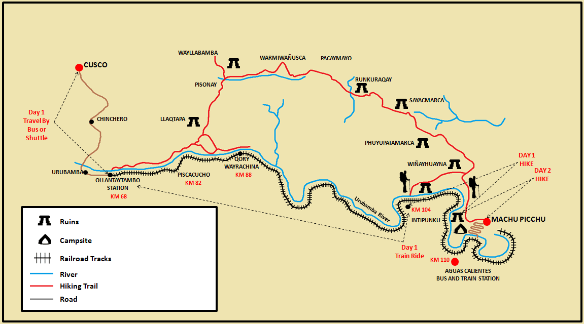 2-Day and 1-Night Inca Trail Hike Map.png