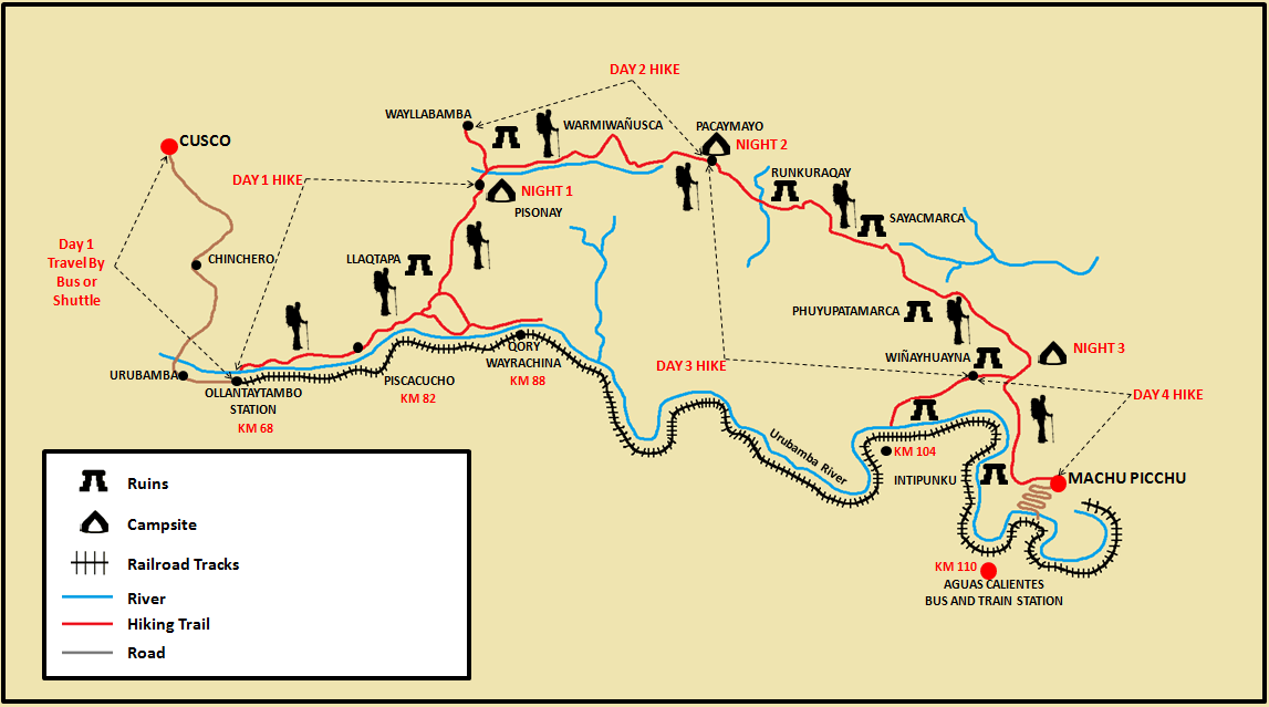 4-Day and 3-Night Inca Trail Hike Map.png