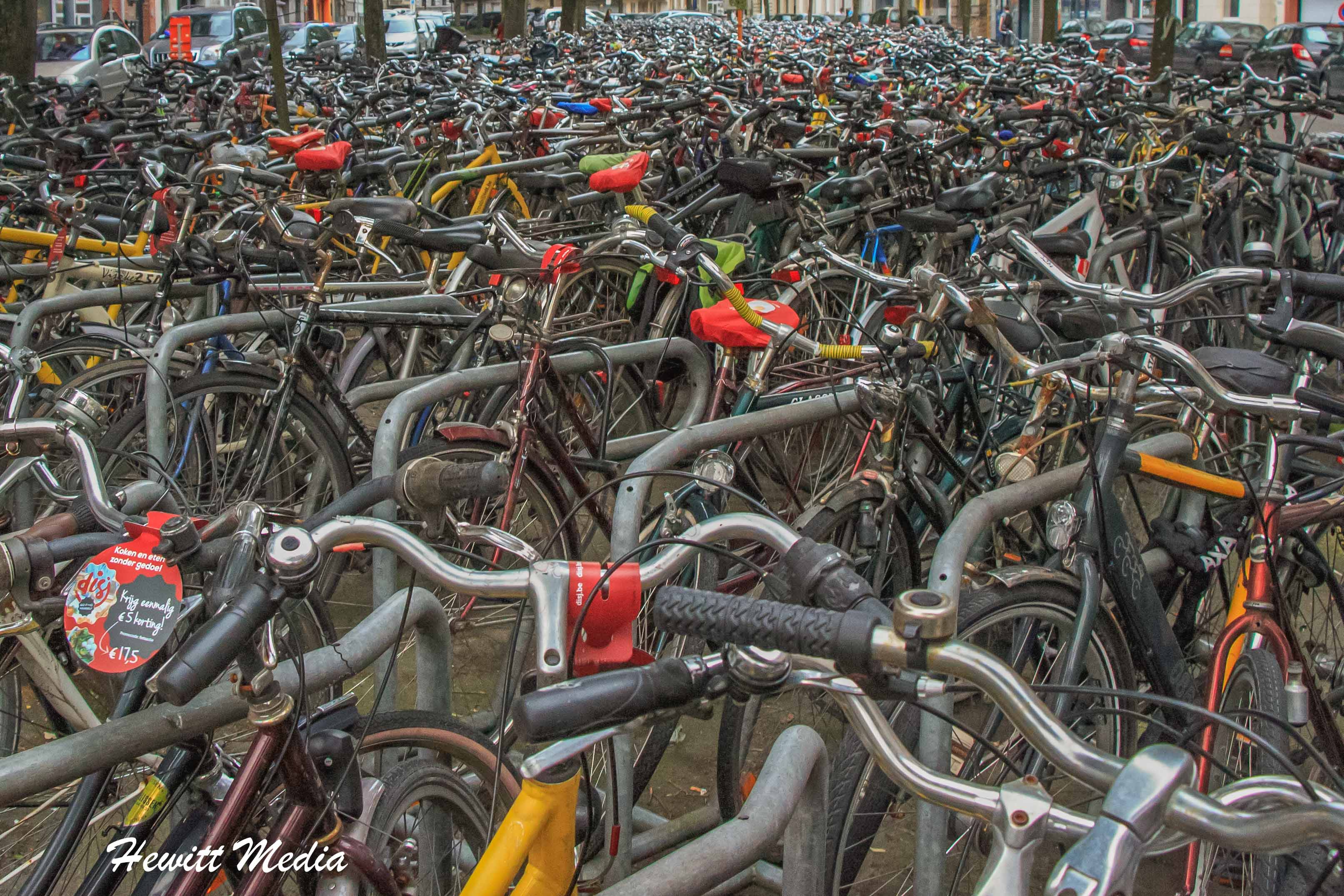 Bikes parked near the train station in Ghent