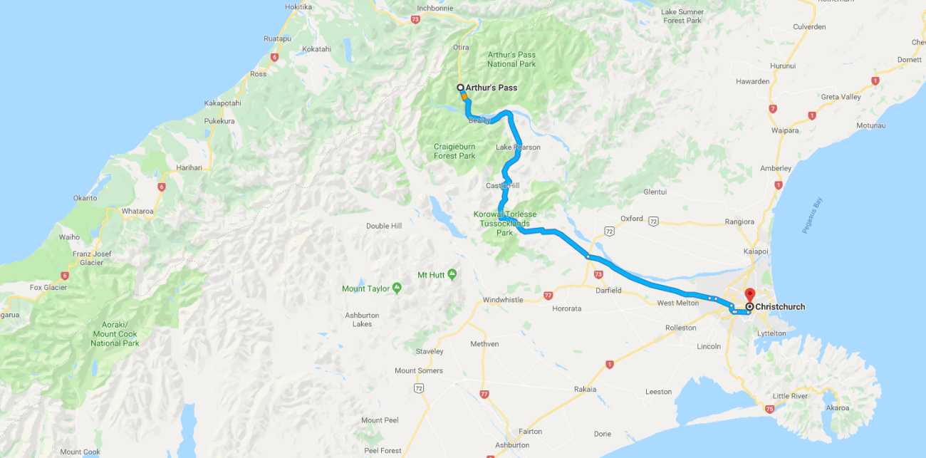 Aurthur's Pass to Christchurch Map.png
