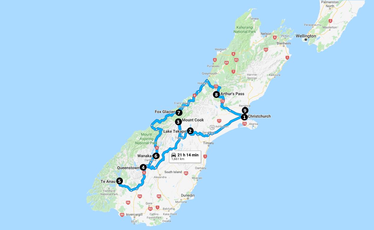 New Zealand Itinerary Map
