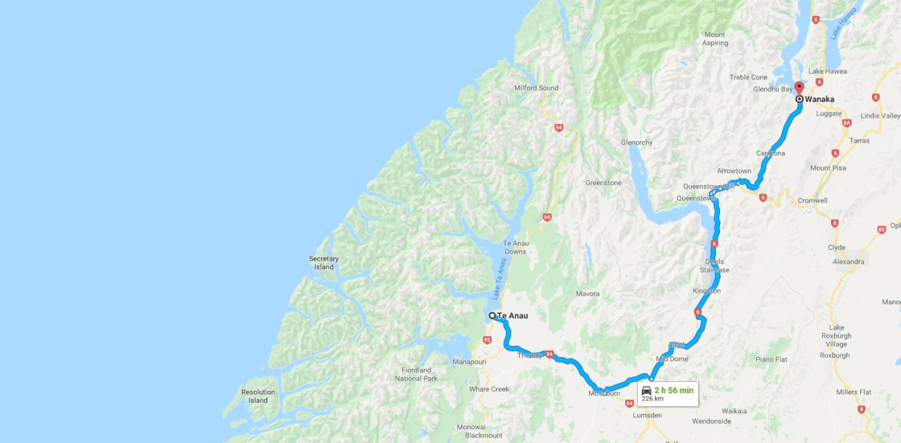 Te Anau to Wanaka Map.png