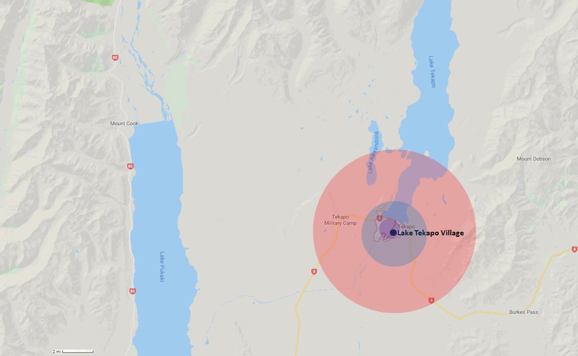 Lake Tekapo Hotel Range Map