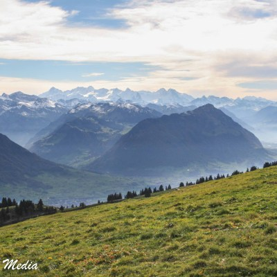 View of the Swiss Alps above Lucerne