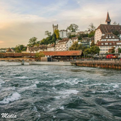 View of the Reuss River in Lucerne