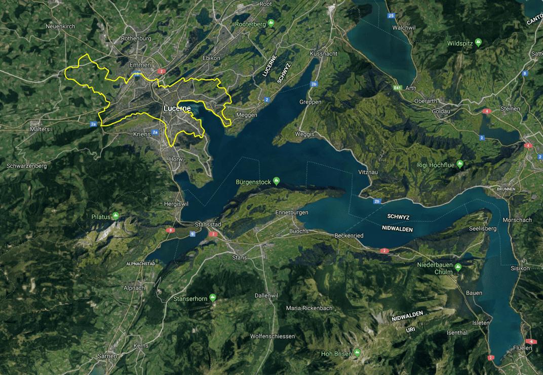 Lucerne, Switzerland Area Map