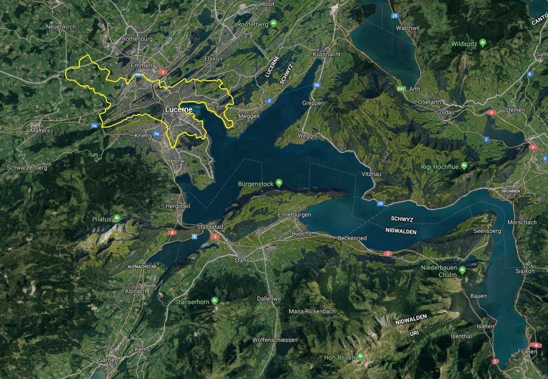 Lucerne, Switzerland Area Map
