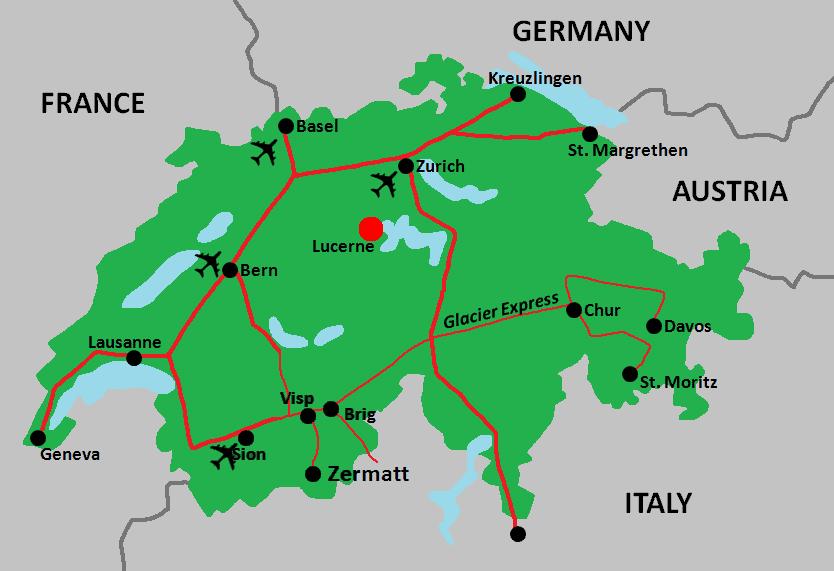 Lucerne, Switzerland Region Map