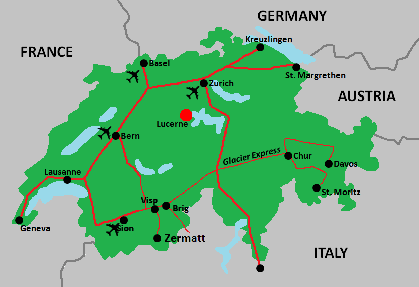 Lucerne, Switzerland Region Map