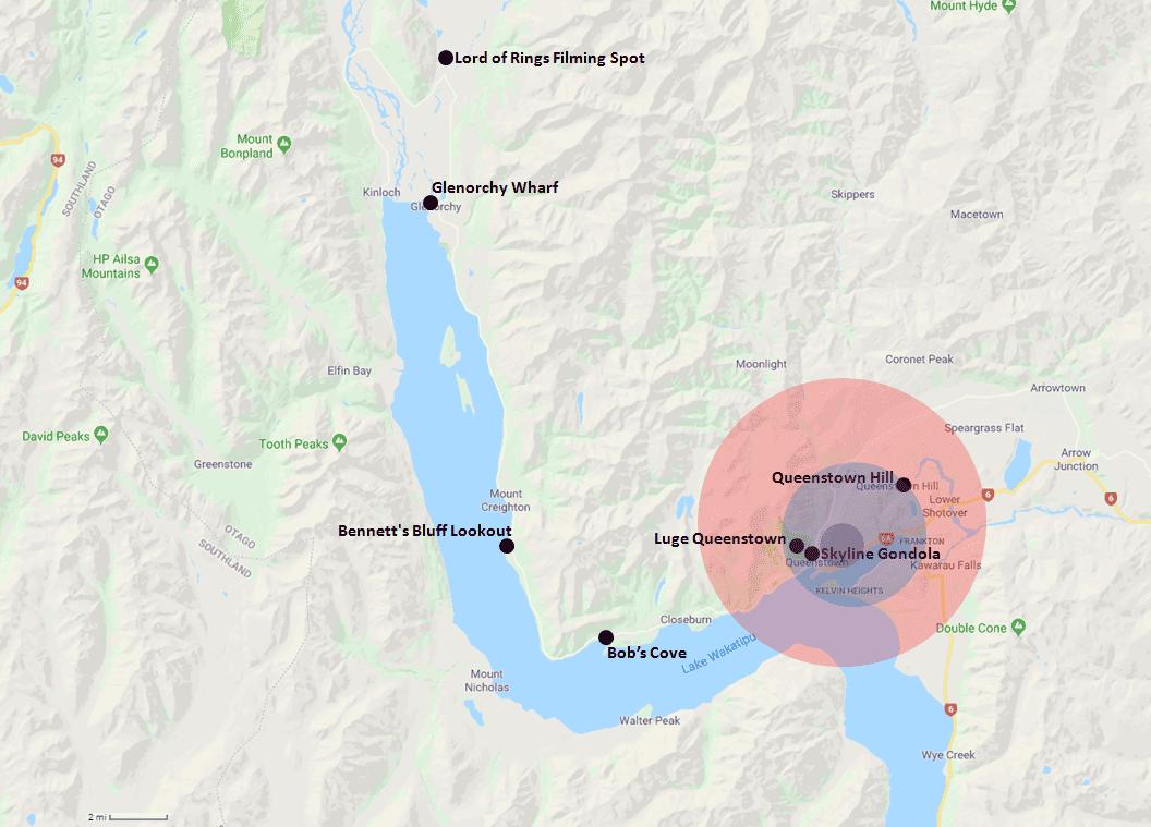 Queenstown Hotel Range Map