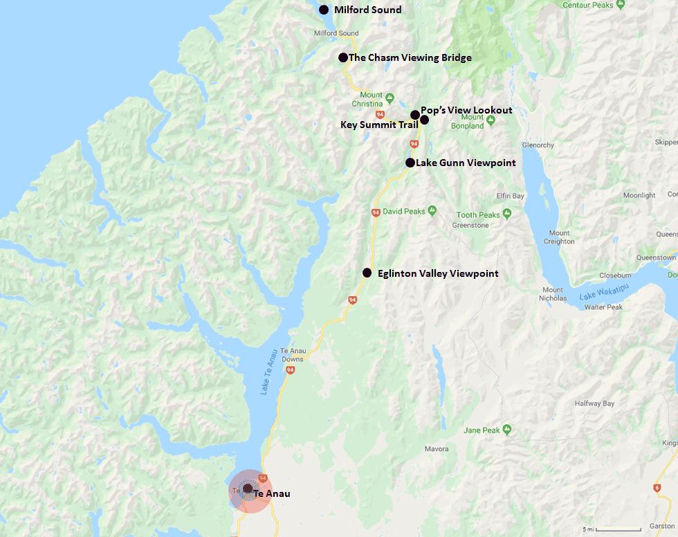 Te Anau Hotel Range Map