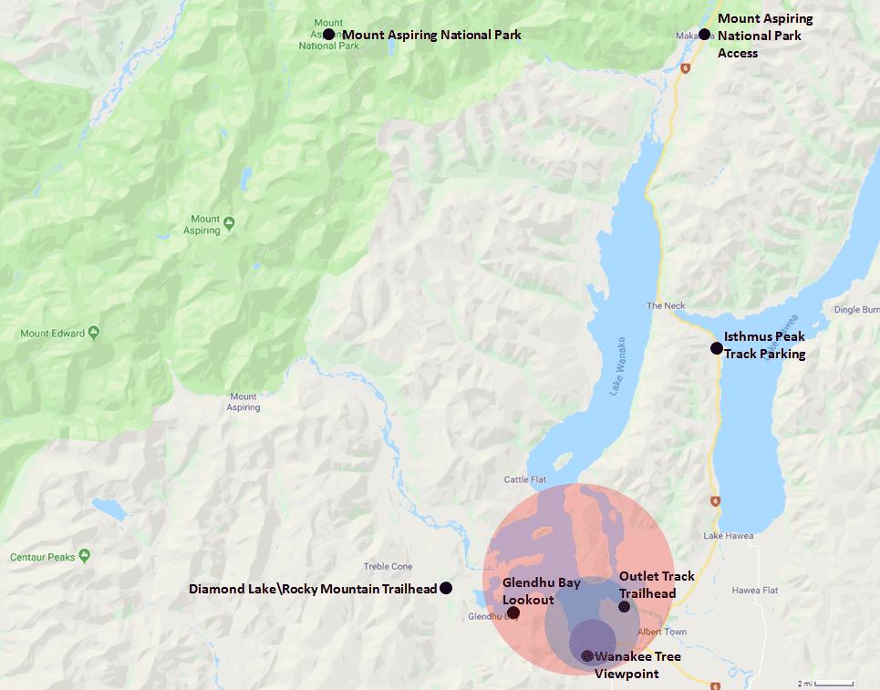 Wanaka Hotel Range Map