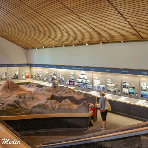Inside the visitor center in Mount St. Helens National Volcanic Monument
