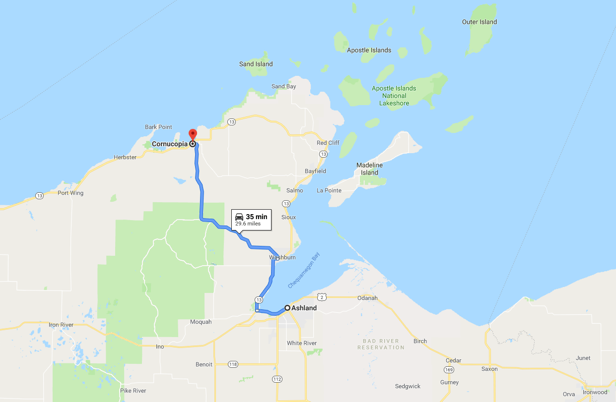 Apostle Islands Trip - Day 2 Map