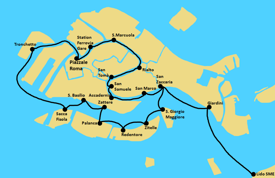 Venice travel guide - City of Venice Water Taxi Map