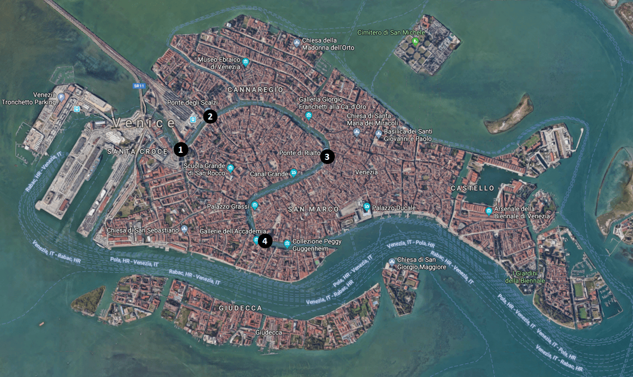 Venice Grand Canal Briges Map