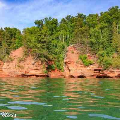 The rocky shoreline of the Apostle Islands