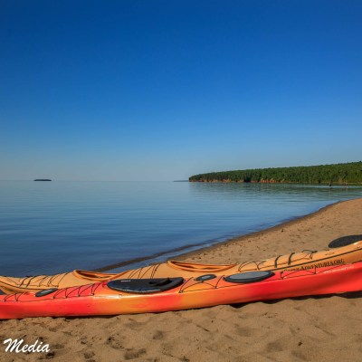 Kayaks on the beach in the Apostle Islands