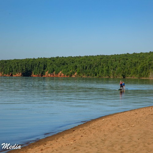 Paddle boarders at Meyer's Beach in the Apostle Islands