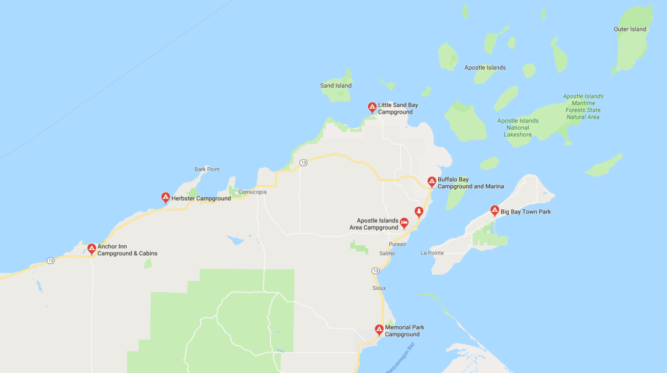 Apostle Islands Campgrounds Map
