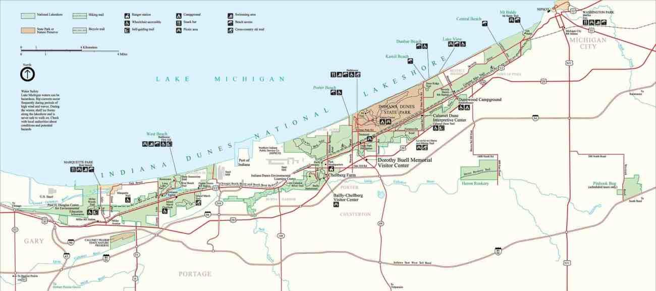 Indiana Dunes National Park Map