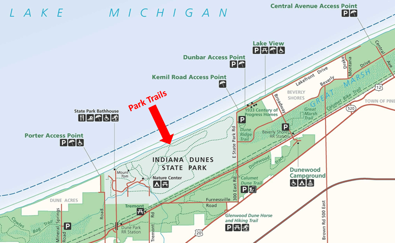 Indiana Dunes State Park Hiking Trails Map