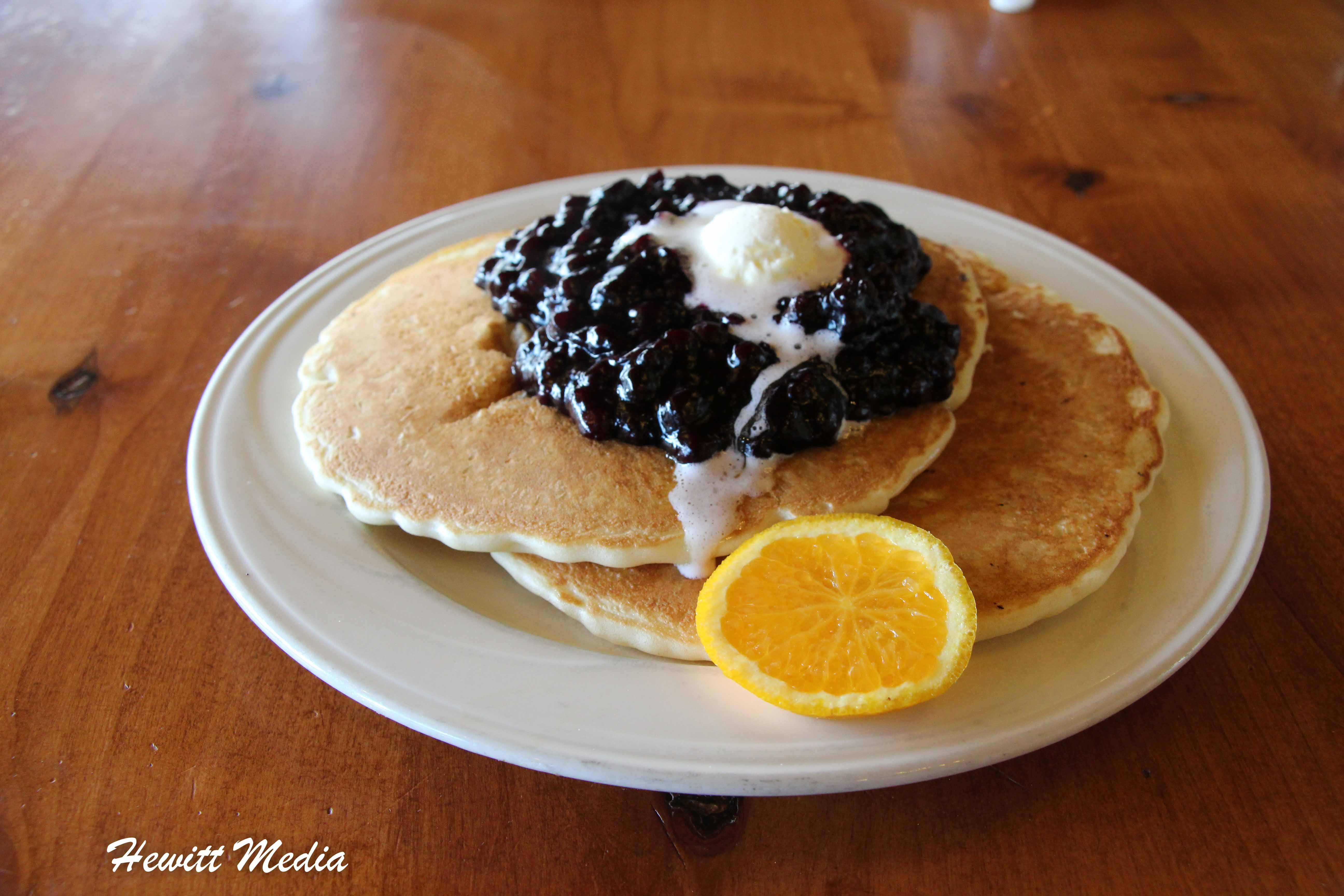 Blueberry Pancakes at Leek's Restaurant