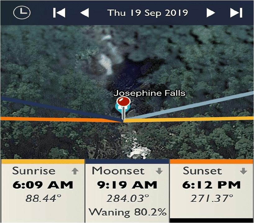 Josephine Falls – Wooroonooran National Park - Sunrise and Sunset Detail Map