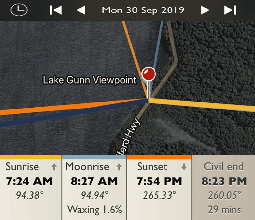 Lake Gunn Viewpoint - Sunrise and Sunset Detail Map