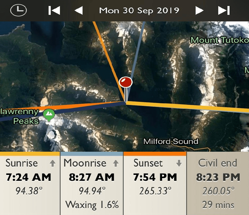 Milford Sound Cruise - Sunrise and Sunset Detail Map