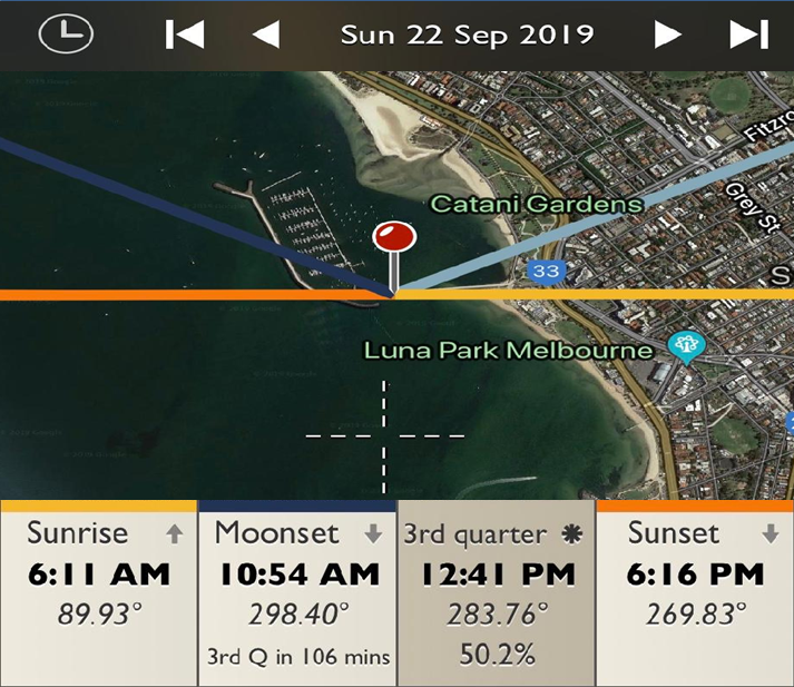 St.Kilda Pier - Sunrise and Sunset Detail Map