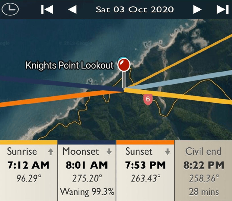 Knight's Point Lookout - Sunrise and Sunset Detail Map