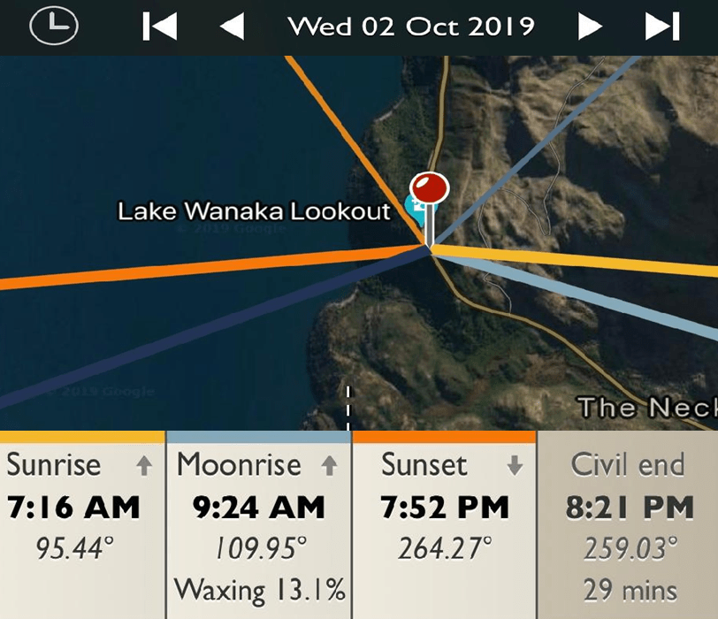 Lake Wanaka Lookout - Sunrise and Sunset Detail Map