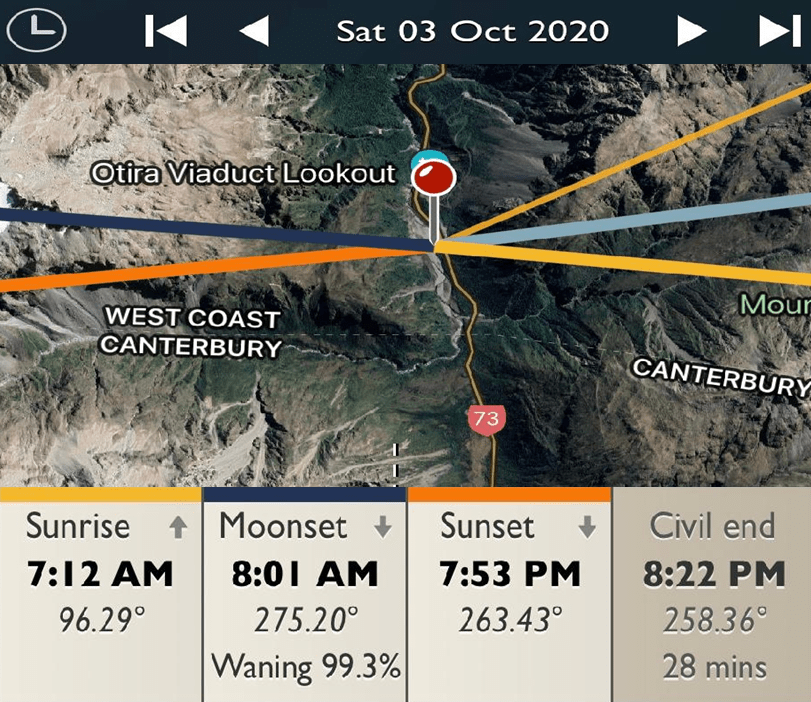 Otira Viaduct Lookout - Sunrise and Sunset Detail Map