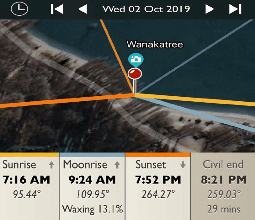 Wanaka Tree - Sunrise and Sunset Detail Map